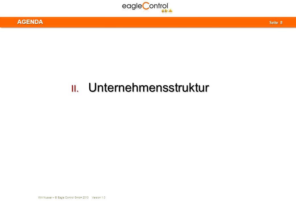 Willi Nusser – © Eagle Control GmbH 2013 Version 1.0 Seite 9 Seite 9 Der Start mit eagleControl beginnt mit der Bildung der Unternehmensstruktur.