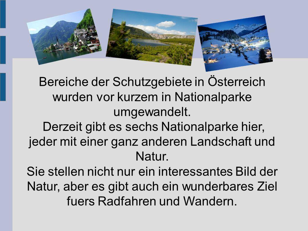 Bereiche der Schutzgebiete in Österreich wurden vor kurzem in Nationalparke umgewandelt. Derzeit gibt es sechs Nationalparke hier, jeder mit einer gan