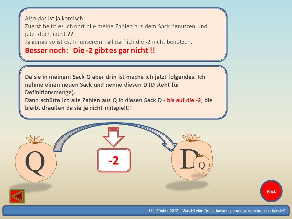 © J. Räuber 2012 – Was ist eine Definitionsmenge und warum brauche ich sie? Klick Also das ist ja komisch. Zuerst heißt es ich darf alle meine Zahlen