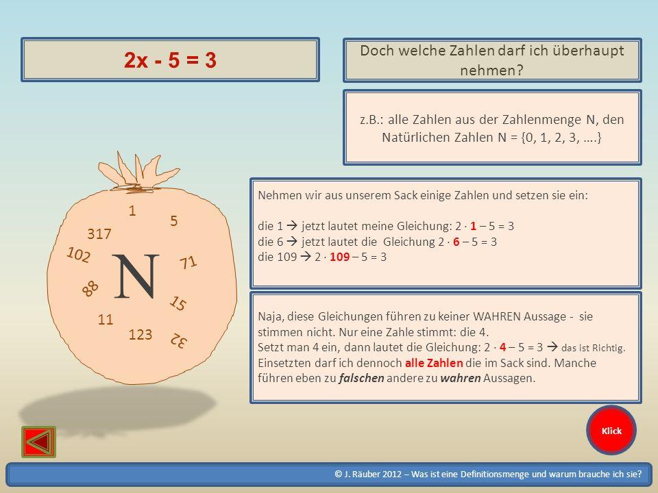 © J. Räuber 2012 – Was ist eine Definitionsmenge und warum brauche ich sie? Klick 2x - 5 = 3 Doch welche Zahlen darf ich überhaupt nehmen? z.B.: alle