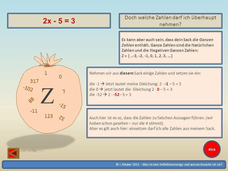 © J. Räuber 2012 – Was ist eine Definitionsmenge und warum brauche ich sie? Klick 2x - 5 = 3 Doch welche Zahlen darf ich überhaupt nehmen? 1 0 7 -15 -