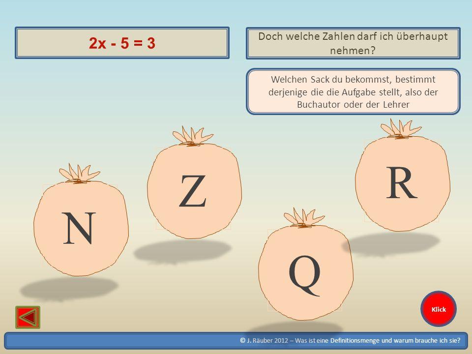 © J. Räuber 2012 – Was ist eine Definitionsmenge und warum brauche ich sie? Klick 2x - 5 = 3 Doch welche Zahlen darf ich überhaupt nehmen? Welchen Sac