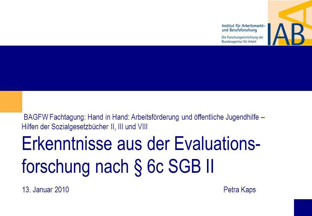 1 BAGFW Fachtagung: Hand in Hand: Arbeitsförderung und öffentliche Jugendhilfe – Hilfen der Sozialgesetzbücher II, III und VIII Erkenntnisse aus der Evaluations- forschung nach § 6c SGB II 13.