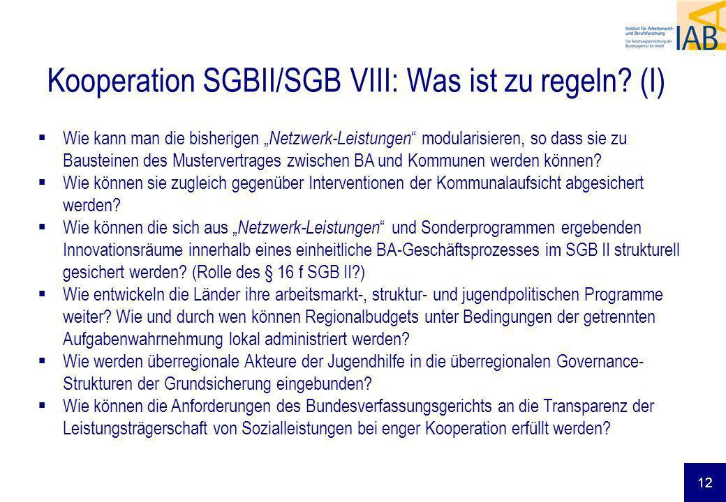 Kooperation SGBII/SGB VIII: Was ist zu regeln? (I) Wie kann man die bisherigen Netzwerk-Leistungen modularisieren, so dass sie zu Bausteinen des Muste