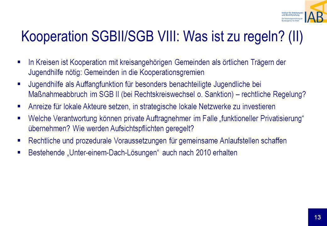 Kooperation SGBII/SGB VIII: Was ist zu regeln? (II) In Kreisen ist Kooperation mit kreisangehörigen Gemeinden als örtlichen Trägern der Jugendhilfe nö
