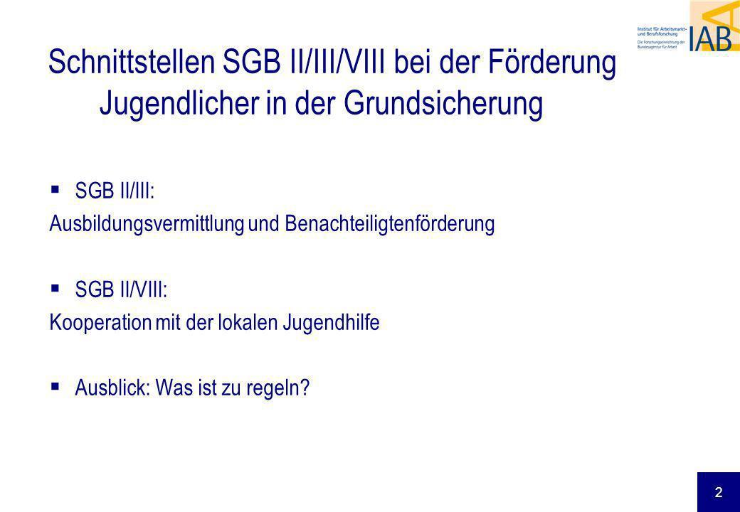 2 Schnittstellen SGB II/III/VIII bei der Förderung Jugendlicher in der Grundsicherung SGB II/III: Ausbildungsvermittlung und Benachteiligtenförderung