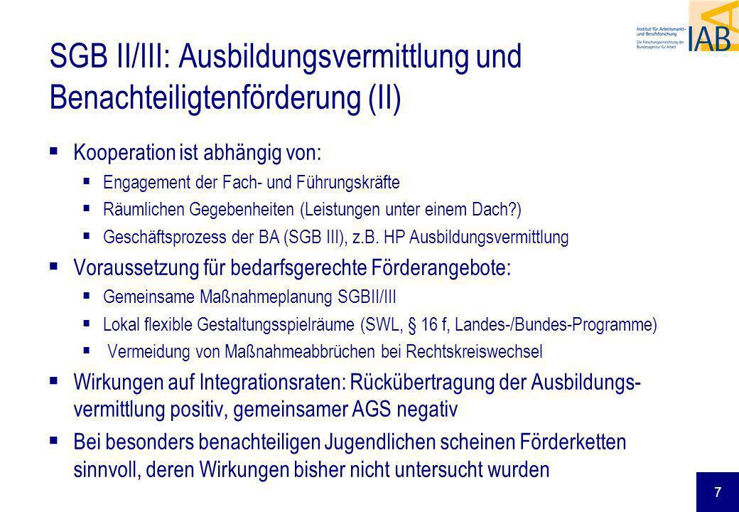 7 Kooperation ist abhängig von: Engagement der Fach- und Führungskräfte Räumlichen Gegebenheiten (Leistungen unter einem Dach?) Geschäftsprozess der BA (SGB III), z.B.