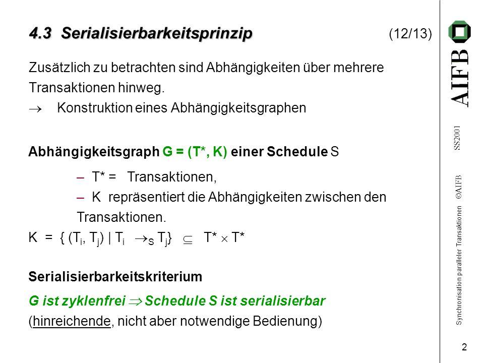 Synchronisation paralleler Transaktionen AIFB SS2001 2 4.3 Serialisierbarkeitsprinzip 4.3 Serialisierbarkeitsprinzip (12/13) Zusätzlich zu betrachten sind Abhängigkeiten über mehrere Transaktionen hinweg.