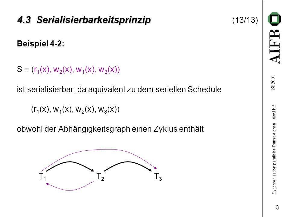 Synchronisation paralleler Transaktionen AIFB SS2001 3 4.3 Serialisierbarkeitsprinzip 4.3 Serialisierbarkeitsprinzip (13/13) Beispiel 4-2: S = (r 1 (x), w 2 (x), w 1 (x), w 3 (x)) ist serialisierbar, da äquivalent zu dem seriellen Schedule (r 1 (x), w 1 (x), w 2 (x), w 3 (x)) obwohl der Abhängigkeitsgraph einen Zyklus enthält T1T2T3T1T2T3