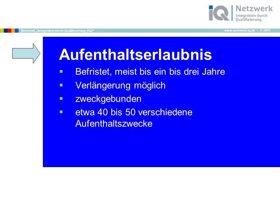 www.netzwerk-iq.de I © 2011 Netzwerk Integration durch Qualifizierung (IQ) Aufenthaltserlaubnis Befristet, meist bis ein bis drei Jahre Verlängerung m