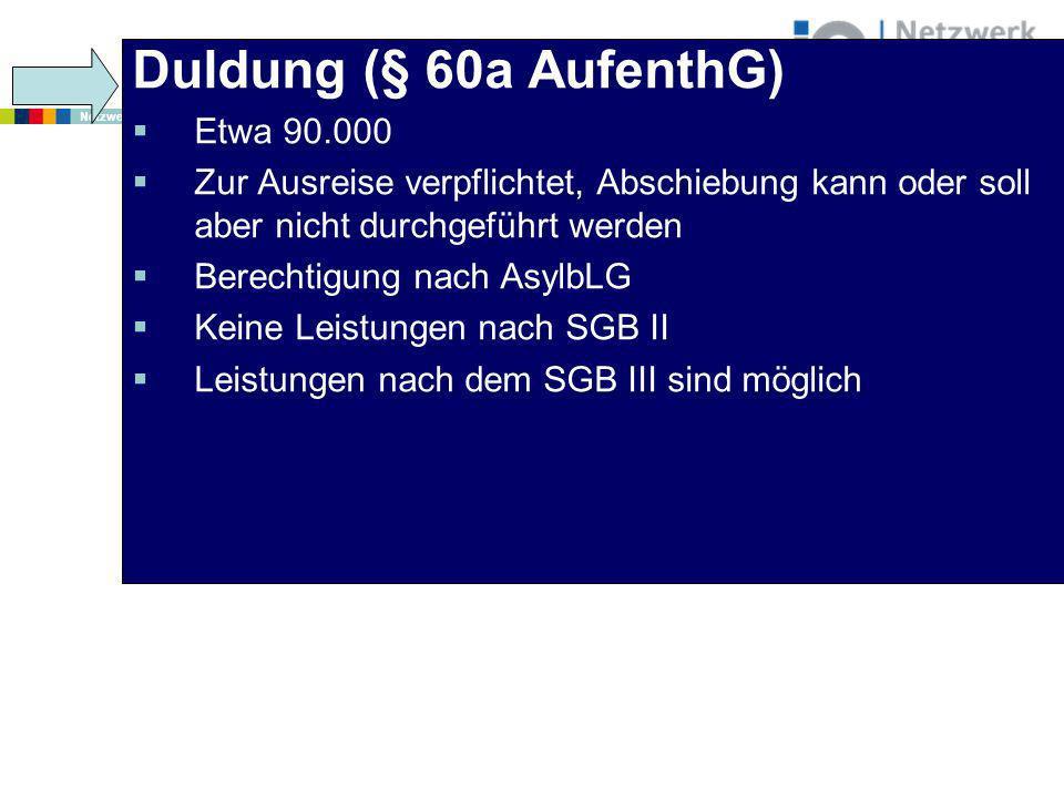 www.netzwerk-iq.de I © 2011 Netzwerk Integration durch Qualifizierung (IQ) Duldung (§ 60a AufenthG) Etwa 90.000 Zur Ausreise verpflichtet, Abschiebung