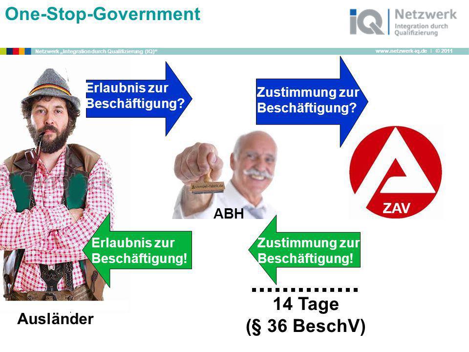www.netzwerk-iq.de I © 2011 Netzwerk Integration durch Qualifizierung (IQ) One-Stop-Government 14 Tage (§ 36 BeschV) ABH Erlaubnis zur Beschäftigung?