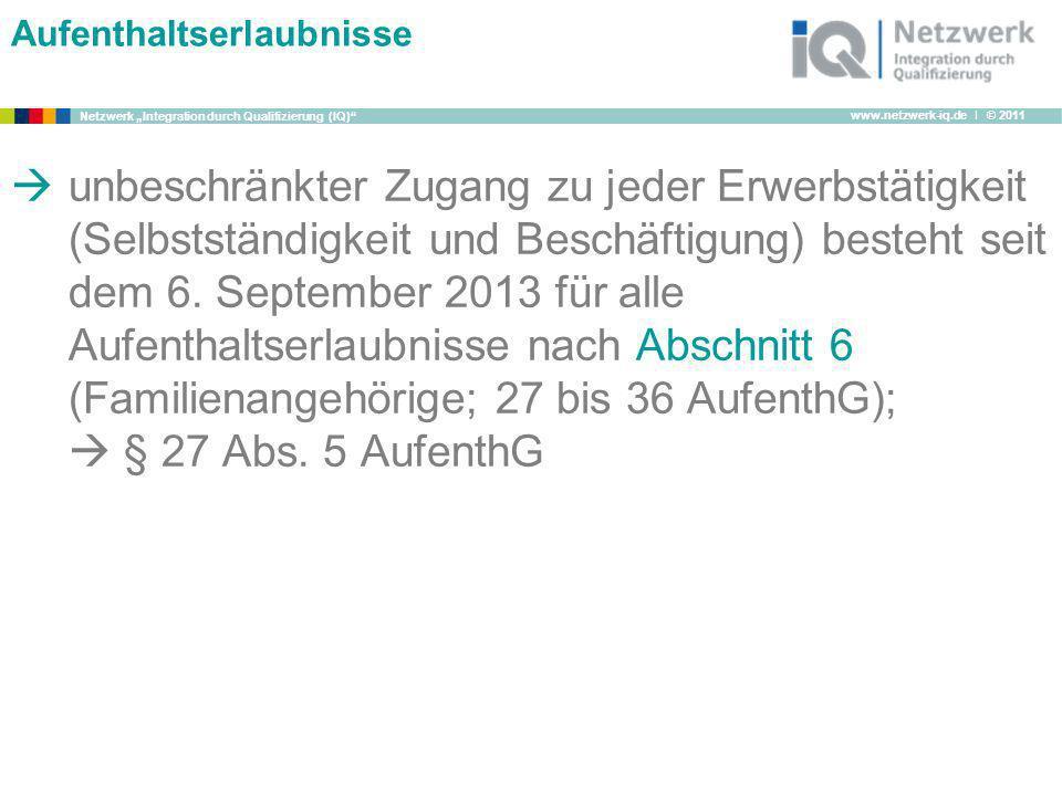 www.netzwerk-iq.de I © 2011 Netzwerk Integration durch Qualifizierung (IQ) Aufenthaltserlaubnisse unbeschränkter Zugang zu jeder Erwerbstätigkeit (Sel