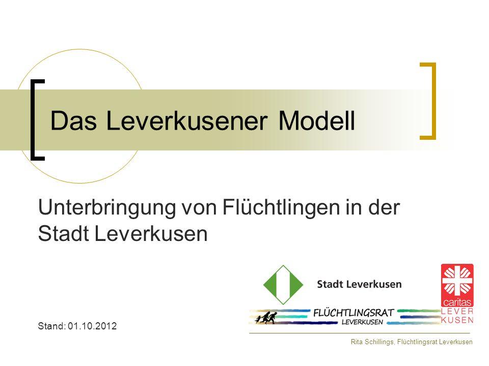 Das Leverkusener Modell Unterbringung von Flüchtlingen in der Stadt Leverkusen Stand: 01.10.2012 Rita Schillings, Flüchtlingsrat Leverkusen
