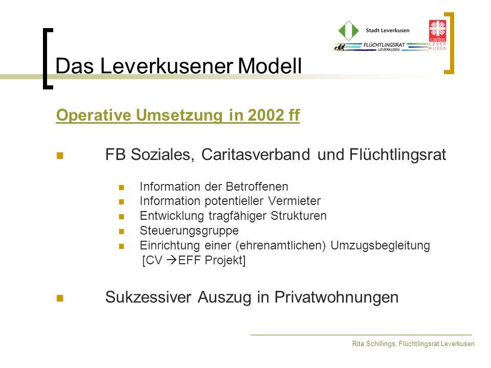 Das Leverkusener Modell Rita Schillings, Flüchtlingsrat Leverkusen Verlauf der ersten Phase Damalige Zielsetzung: Aufgabe einer kostenintensiven Unterkunft durch Auszug von 80 Personen Ziel wurde erreicht.