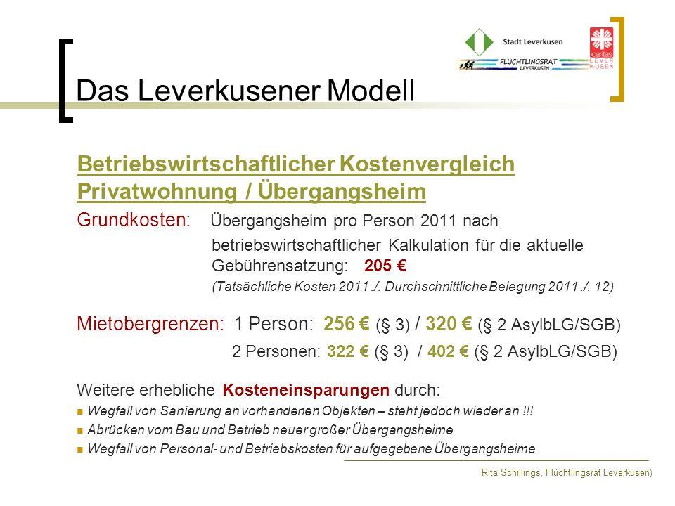 Das Leverkusener Modell Rita Schillings, Flüchtlingsrat Leverkusen) Situation 01.10.2012 In Leverkusen leben 1300 (1398) Flüchtlinge, davon wären 434 (374) Flüchtlinge leistungsberechtigt nach AsylbLG erhalten 352 (272) Flüchtlinge tatsächlich, ggf.