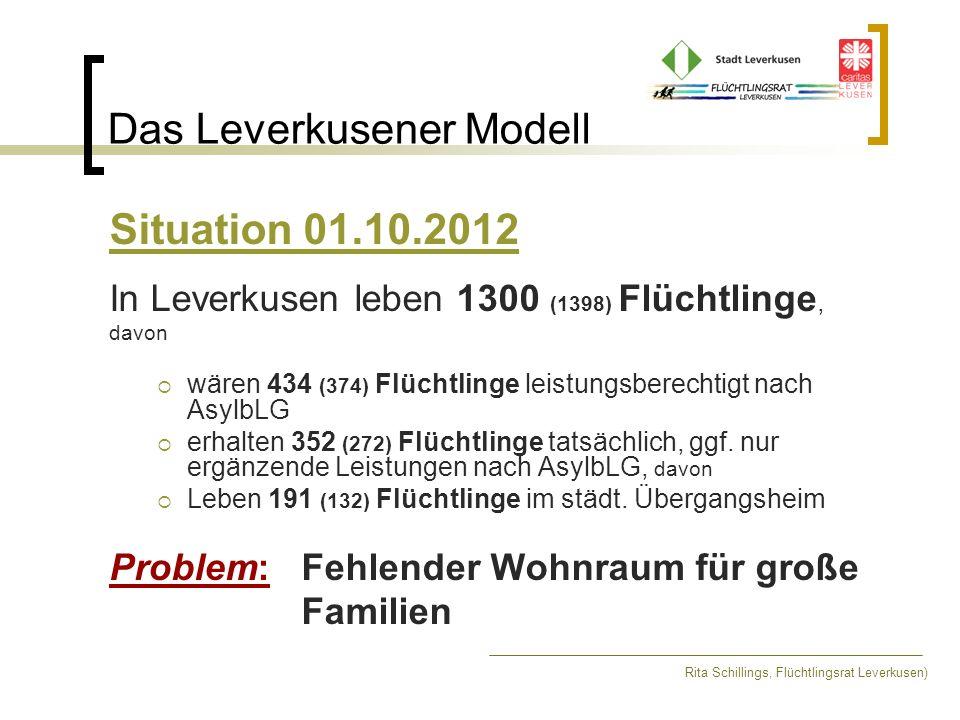 Das Leverkusener Modell Rita Schillings, Flüchtlingsrat Leverkusen) Situation 01.10.2012 In Leverkusen leben 1300 (1398) Flüchtlinge, davon wären 434