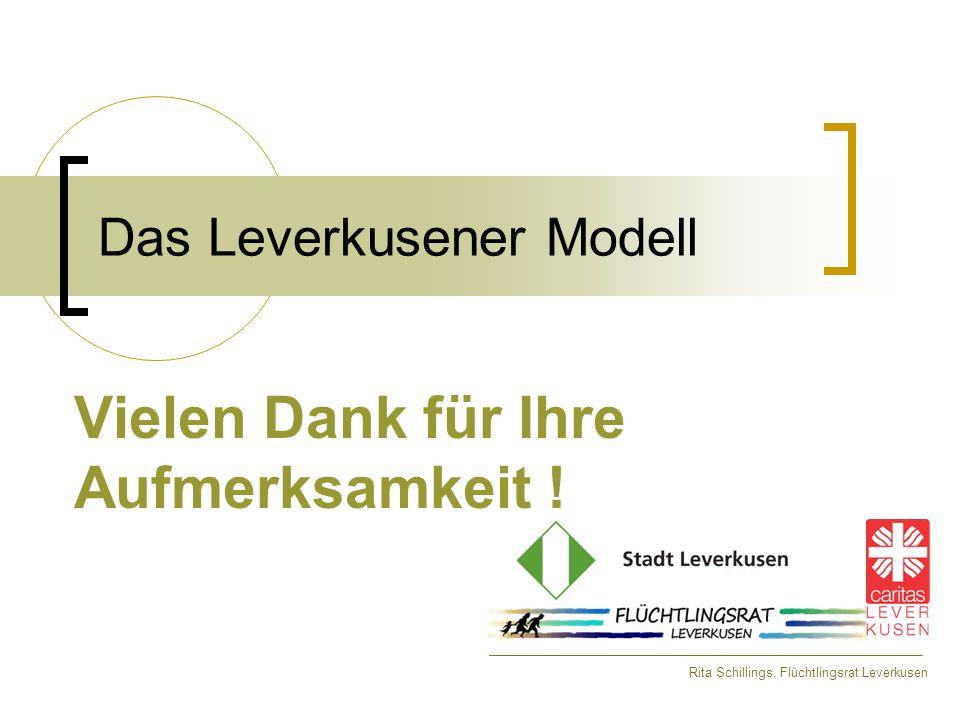 Das Leverkusener Modell Vielen Dank für Ihre Aufmerksamkeit ! Rita Schillings, Flüchtlingsrat Leverkusen