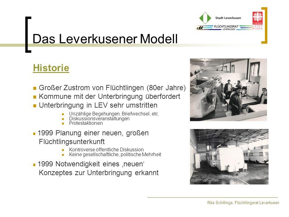 Das Leverkusener Modell Historie Großer Zustrom von Flüchtlingen (80er Jahre) Kommune mit der Unterbringung überfordert Unterbringung in LEV sehr umst