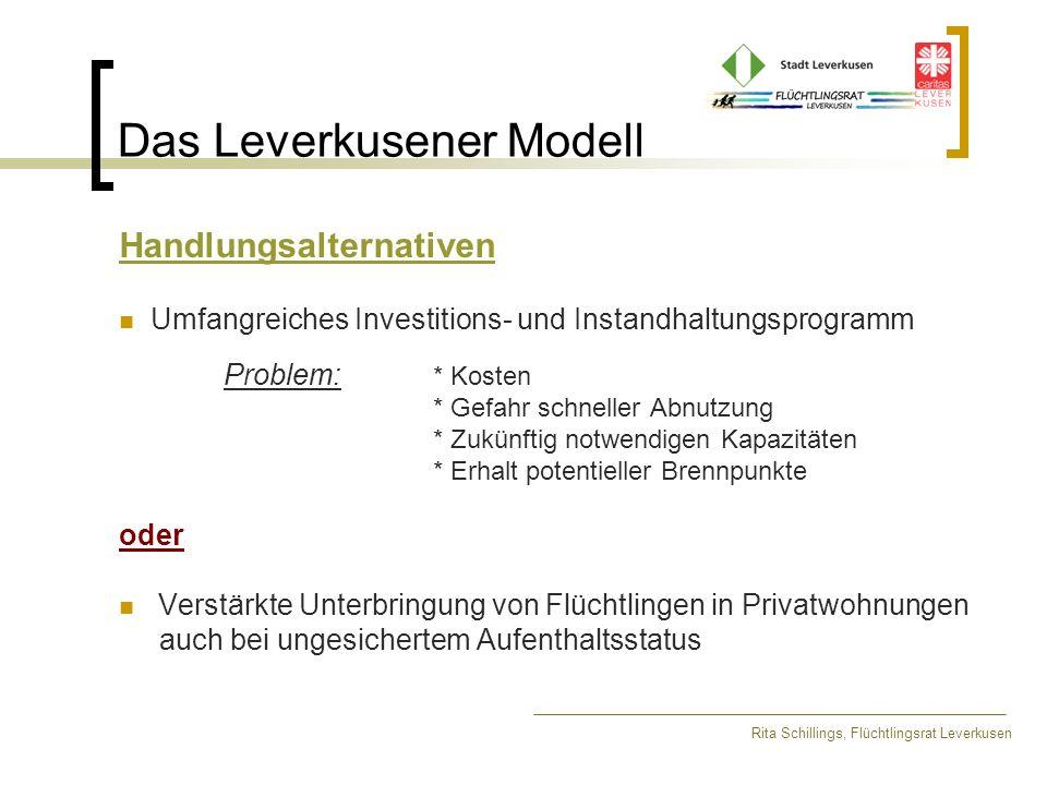 Das Leverkusener Modell Rita Schillings, Flüchtlingsrat Leverkusen Rechtliche Voraussetzungen § 53 AsylVfG: Unterbringung in Gemeinschaftsunterkünften (1) Ausländer, die einen Asylantrag gestellt haben und nicht oder nicht mehr verpflichtet sind, in einer Aufnahmeeinrichtung zu wohnen, sollen in der Regel in Gemeinschaftsunterkünften untergebracht werden.