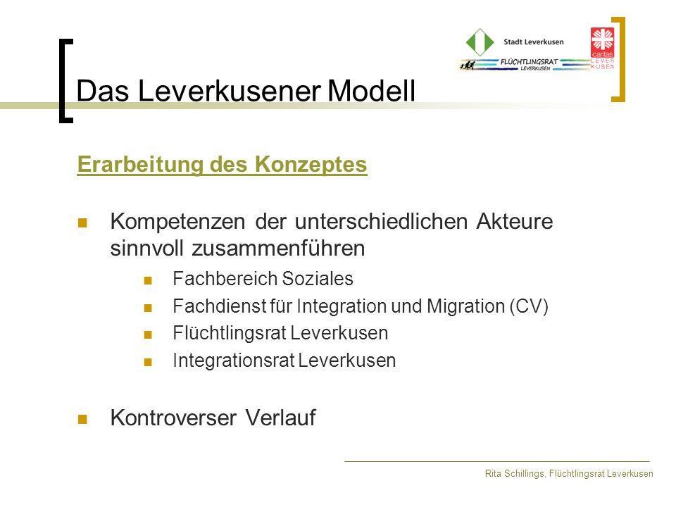 Das Leverkusener Modell Erarbeitung des Konzeptes Kompetenzen der unterschiedlichen Akteure sinnvoll zusammenführen Fachbereich Soziales Fachdienst fü