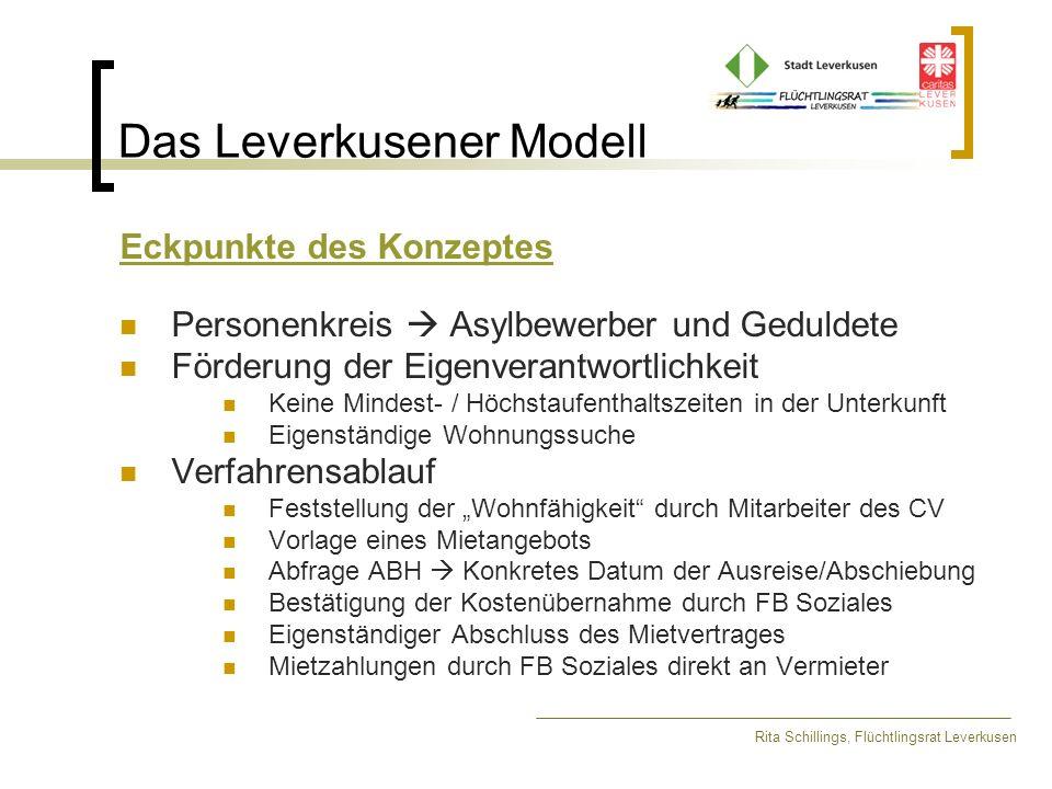 Das Leverkusener Modell Rita Schillings, Flüchtlingsrat Leverkusen 25.02.2002: Beschluss des Ausschusses für Soziales, Gesundheit und Senioren Unterbringung von Flüchtlingen in Privatwohnungen wird für eine erste Phase für 80 Personen angestrebt.