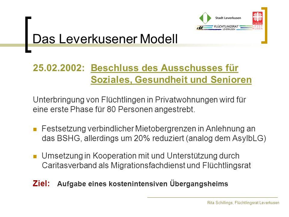 Das Leverkusener Modell Rita Schillings, Flüchtlingsrat Leverkusen 25.02.2002: Beschluss des Ausschusses für Soziales, Gesundheit und Senioren Unterbr