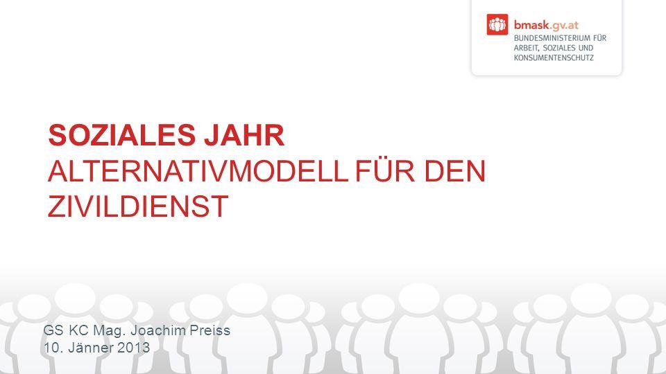 GS KC Mag. Joachim Preiss 10. Jänner 2013 SOZIALES JAHR ALTERNATIVMODELL FÜR DEN ZIVILDIENST