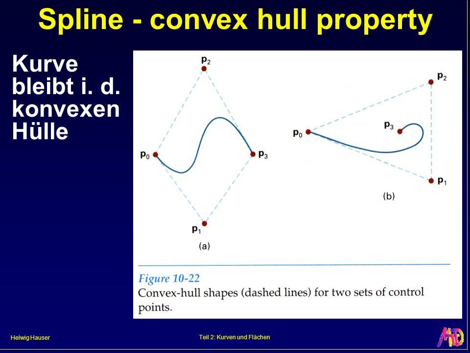 Helwig Hauser Teil 2: Kurven und Flächen Spline - convex hull property Kurve bleibt i. d. konvexen Hülle