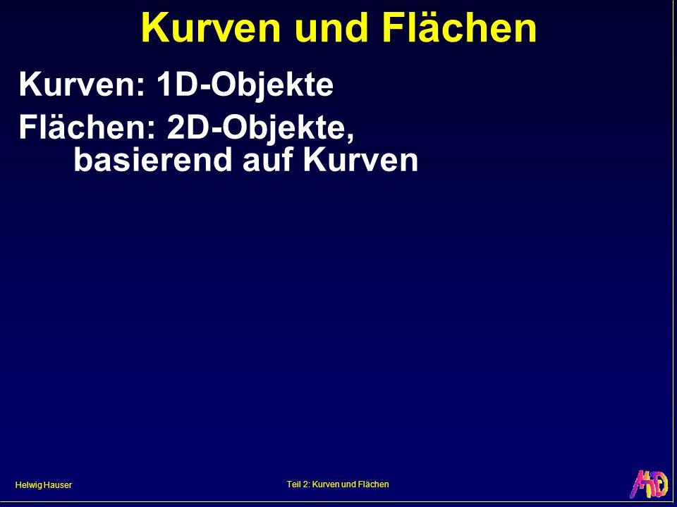 Helwig Hauser Teil 2: Kurven und Flächen Kurven und Flächen Kurven: 1D-Objekte Flächen: 2D-Objekte, basierend auf Kurven
