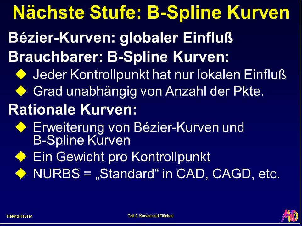 Helwig Hauser Teil 2: Kurven und Flächen Nächste Stufe: B-Spline Kurven Bézier-Kurven: globaler Einfluß Brauchbarer: B-Spline Kurven: Jeder Kontrollpu