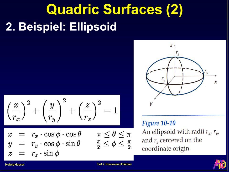 Helwig Hauser Teil 2: Kurven und Flächen Quadric Surfaces (2) 2. Beispiel: Ellipsoid