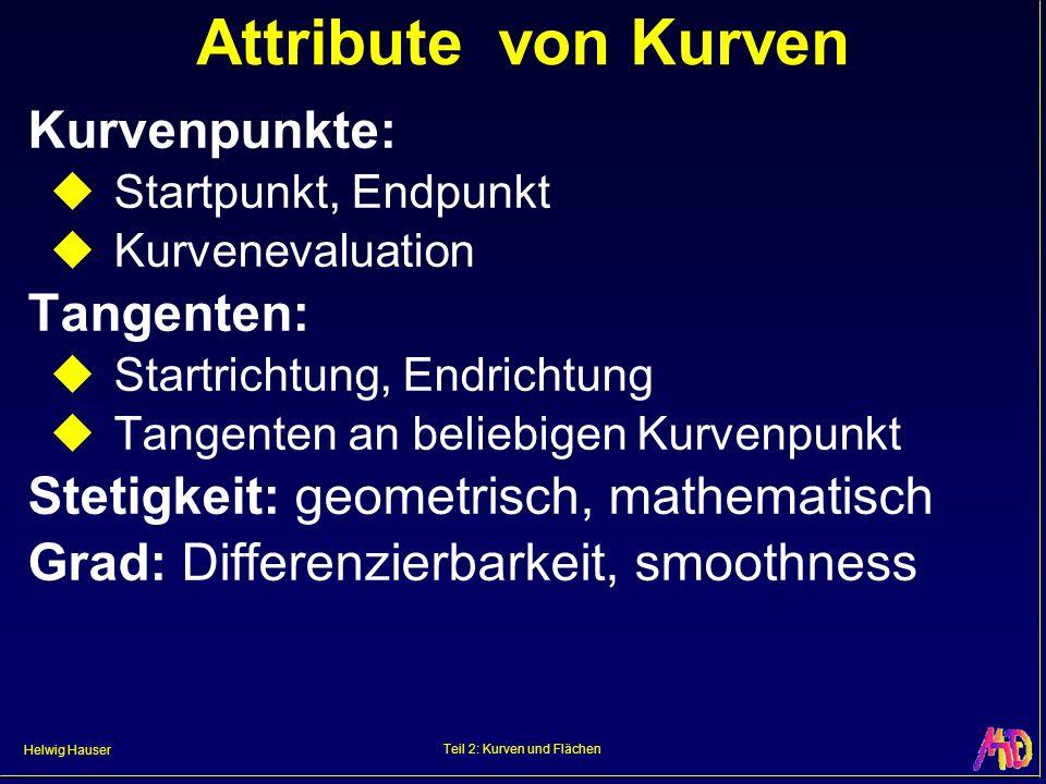 Helwig Hauser Teil 2: Kurven und Flächen Attribute von Kurven Kurvenpunkte: Startpunkt, Endpunkt Kurvenevaluation Tangenten: Startrichtung, Endrichtun