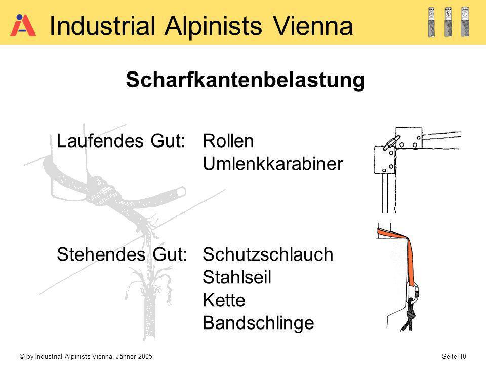 © by Industrial Alpinists Vienna; Jänner 2005 Seite 10 Industrial Alpinists Vienna Scharfkantenbelastung Laufendes Gut: Rollen Umlenkkarabiner Stehend