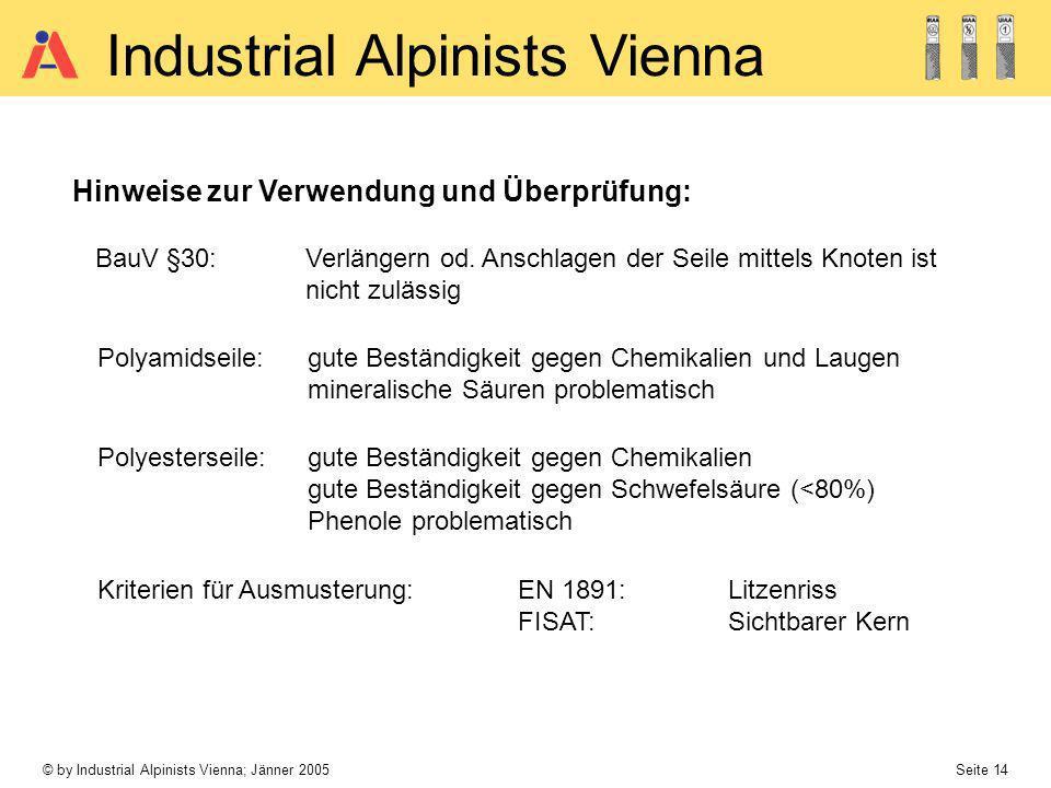 © by Industrial Alpinists Vienna; Jänner 2005 Seite 14 Industrial Alpinists Vienna Hinweise zur Verwendung und Überprüfung: Kriterien für Ausmusterung