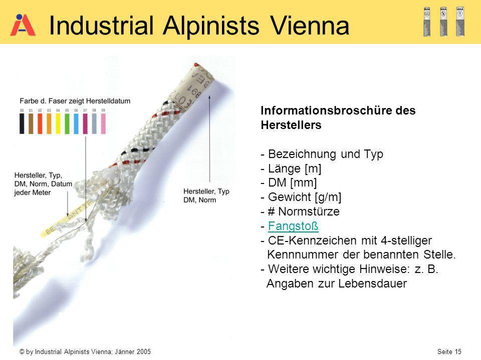 © by Industrial Alpinists Vienna; Jänner 2005 Seite 15 Industrial Alpinists Vienna Informationsbroschüre des Herstellers - Bezeichnung und Typ - Länge