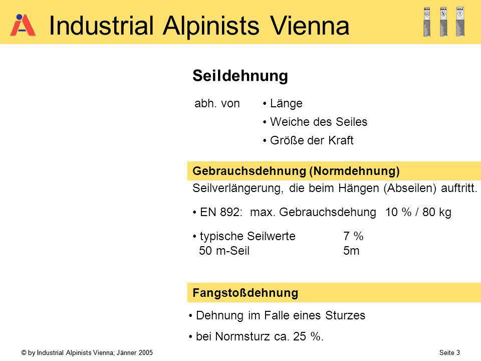 © by Industrial Alpinists Vienna; Jänner 2005 Seite 14 Industrial Alpinists Vienna Hinweise zur Verwendung und Überprüfung: Kriterien für Ausmusterung:EN 1891:Litzenriss FISAT:Sichtbarer Kern BauV §30: Verlängern od.