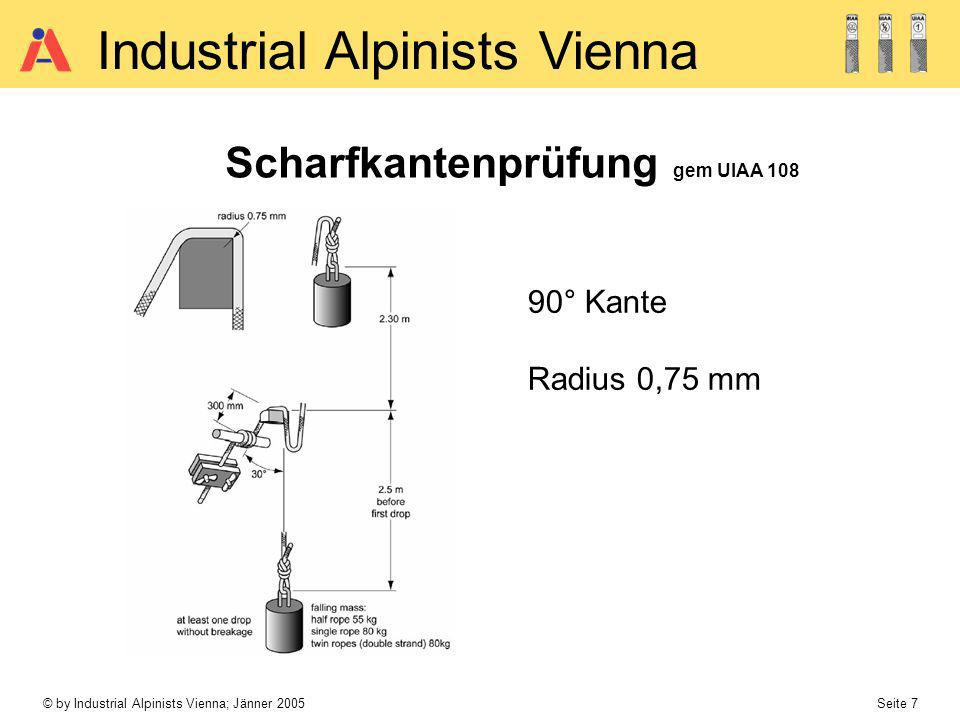 © by Industrial Alpinists Vienna; Jänner 2005 Seite 8 Industrial Alpinists Vienna Scharfkantenbelastung - Sturzbelastung 1m4 kN 3m5 kN 5m6 kN - Aufstieg mittels Steigklemmen ca.