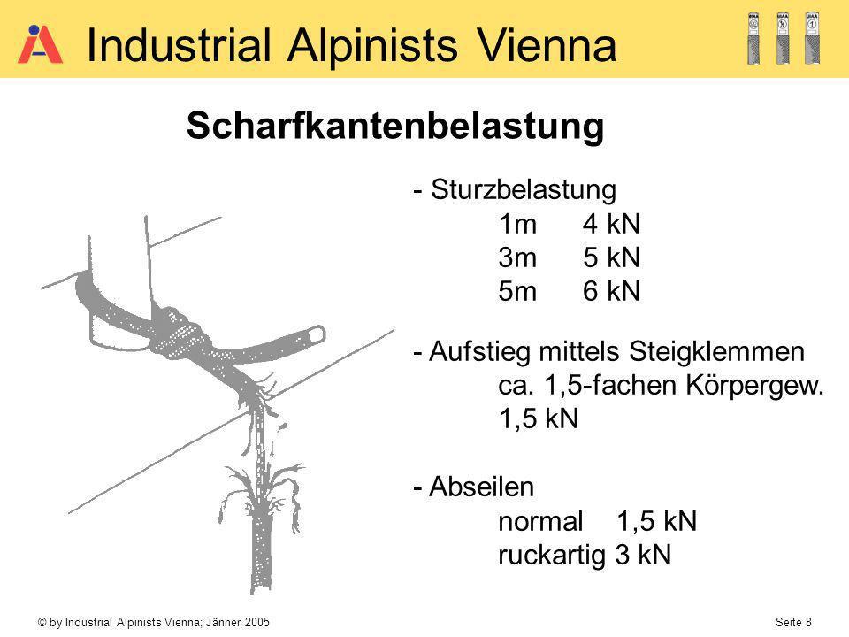 © by Industrial Alpinists Vienna; Jänner 2005 Seite 8 Industrial Alpinists Vienna Scharfkantenbelastung - Sturzbelastung 1m4 kN 3m5 kN 5m6 kN - Aufsti