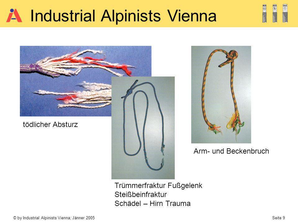 © by Industrial Alpinists Vienna; Jänner 2005 Seite 9 Industrial Alpinists Vienna Arm- und Beckenbruch tödlicher Absturz Trümmerfraktur Fußgelenk Stei