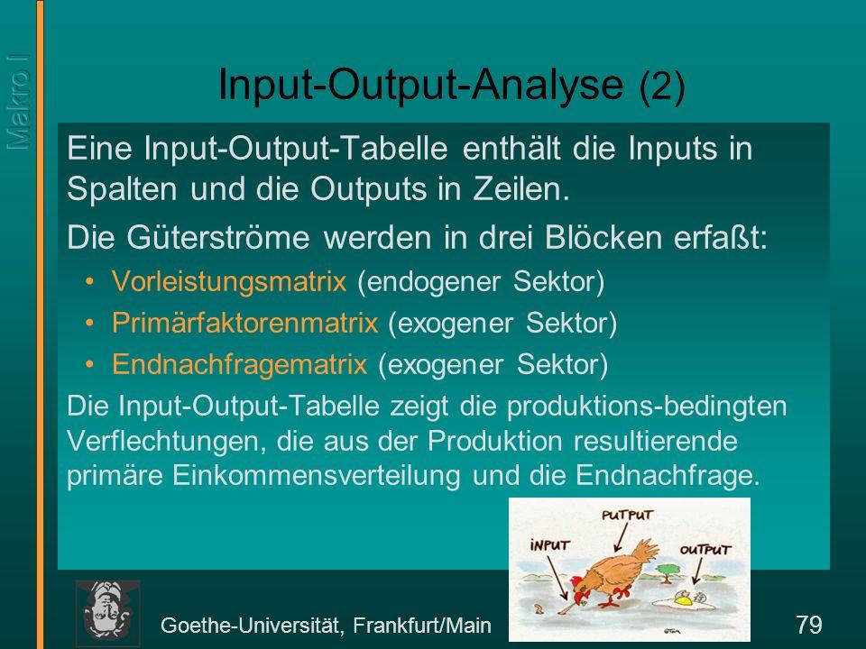Goethe-Universität, Frankfurt/Main 79 Input-Output-Analyse (2) Eine Input-Output-Tabelle enthält die Inputs in Spalten und die Outputs in Zeilen. Die