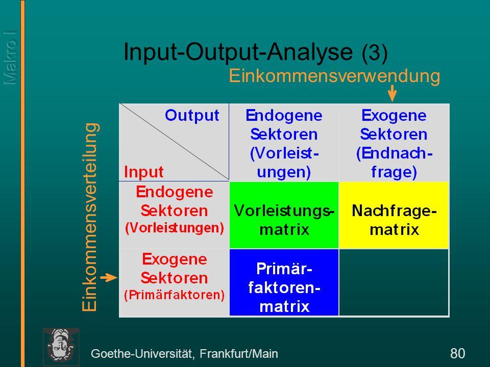 Goethe-Universität, Frankfurt/Main 80 Input-Output-Analyse (3) Einkommensverteilung Einkommensverwendung
