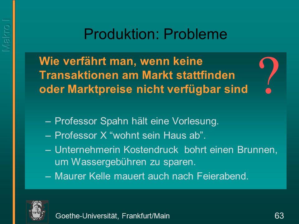 Goethe-Universität, Frankfurt/Main 63 Produktion: Probleme Wie verfährt man, wenn keine Transaktionen am Markt stattfinden oder Marktpreise nicht verf