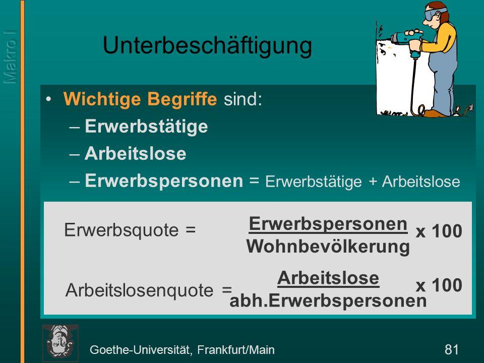 Goethe-Universität, Frankfurt/Main 81 Wichtige Begriffe sind: –Erwerbstätige –Arbeitslose –Erwerbspersonen = Erwerbstätige + Arbeitslose Unterbeschäft