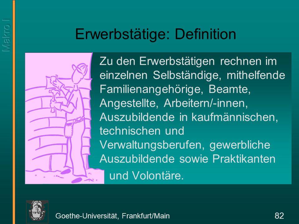 Goethe-Universität, Frankfurt/Main 82 Erwerbstätige: Definition Zu den Erwerbstätigen rechnen im einzelnen Selbständige, mithelfende Familienangehörig