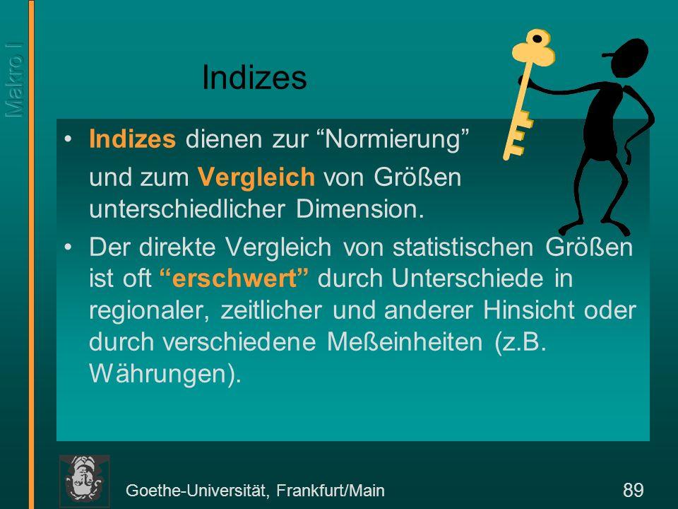 Goethe-Universität, Frankfurt/Main 89 Indizes dienen zur Normierung und zum Vergleich von Größen unterschiedlicher Dimension. Der direkte Vergleich vo