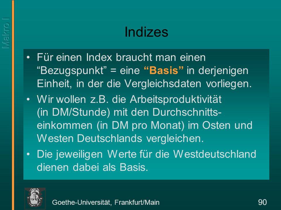 Goethe-Universität, Frankfurt/Main 90 Indizes Für einen Index braucht man einen Bezugspunkt = eine Basis in derjenigen Einheit, in der die Vergleichsd