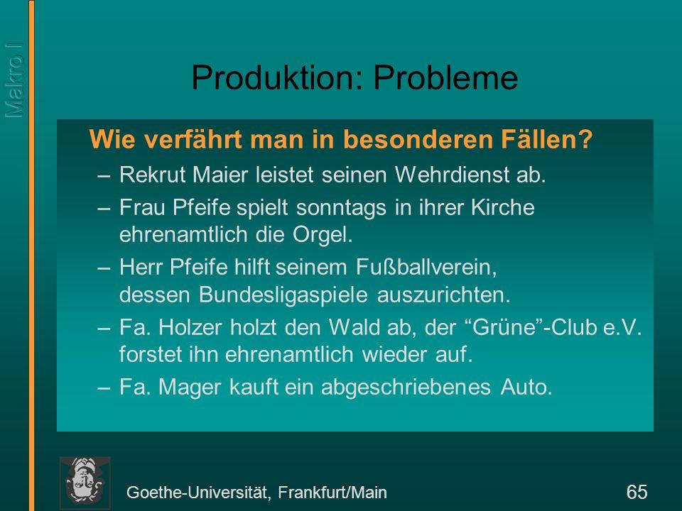 Goethe-Universität, Frankfurt/Main 65 Produktion: Probleme Wie verfährt man in besonderen Fällen? –Rekrut Maier leistet seinen Wehrdienst ab. –Frau Pf