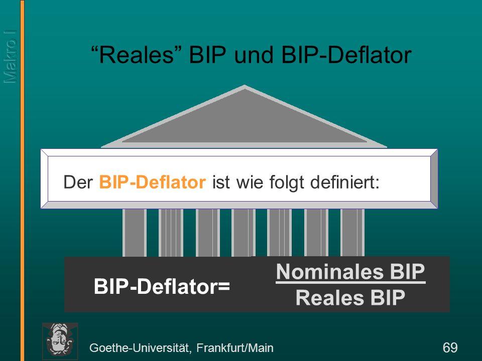 Goethe-Universität, Frankfurt/Main 69 Reales BIP und BIP-Deflator Nominales BIP Reales BIP Der BIP-Deflator ist wie folgt definiert: BIP-Deflator=