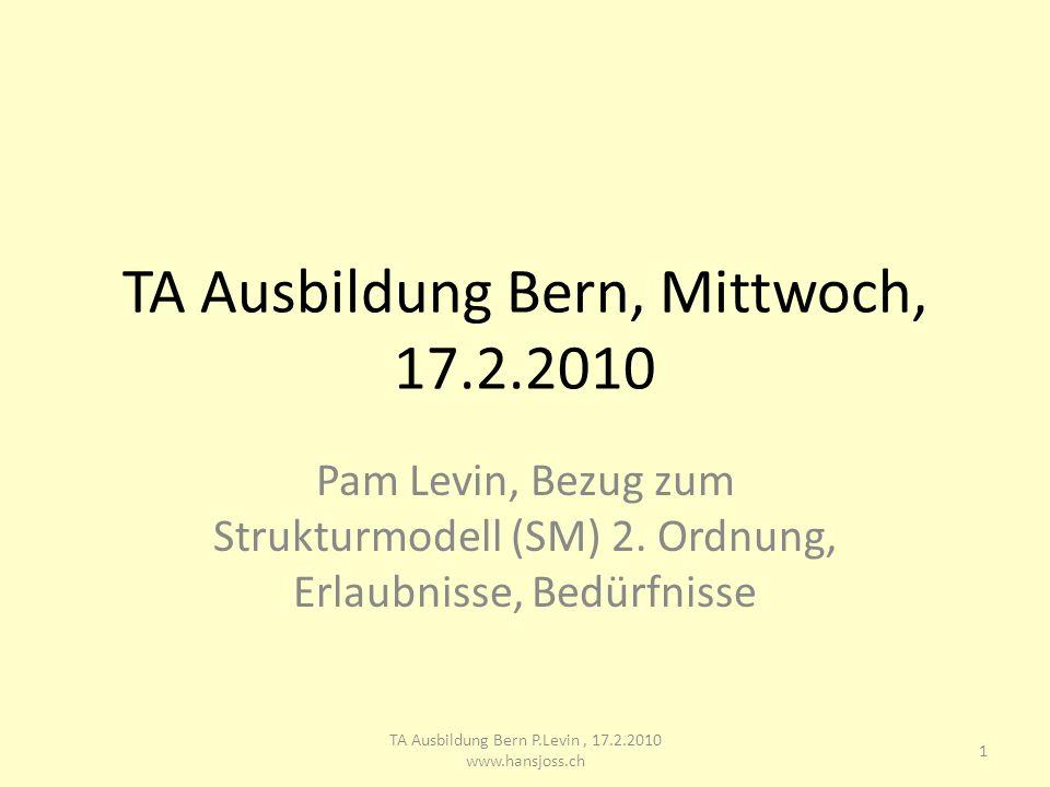 TA Ausbildung Bern, Mittwoch, 17.2.2010 Pam Levin, Bezug zum Strukturmodell (SM) 2. Ordnung, Erlaubnisse, Bedürfnisse 1 TA Ausbildung Bern P.Levin, 17